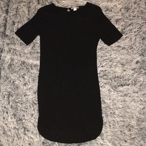 H&M Black Ribbed Dress w/ Split Hem